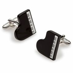 Grand Piano Cufflinks finished in a glossy black enamel. Grand Piano, Free Black, Recital, Black Enamel, Stylish Men, Cufflinks, Take That, Range, Club