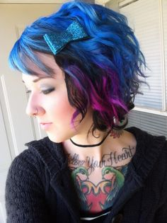 Blue/green/purple hair. I wish I could pull this off...maybe one day