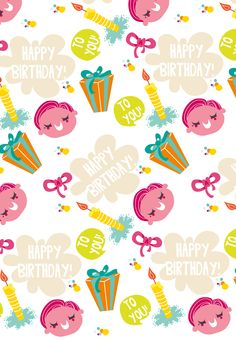 Free Printable Happy Birthday Pattern Greeting Card