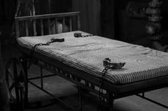 Old bed with restraint in abandoned asylum by ruhimcclure