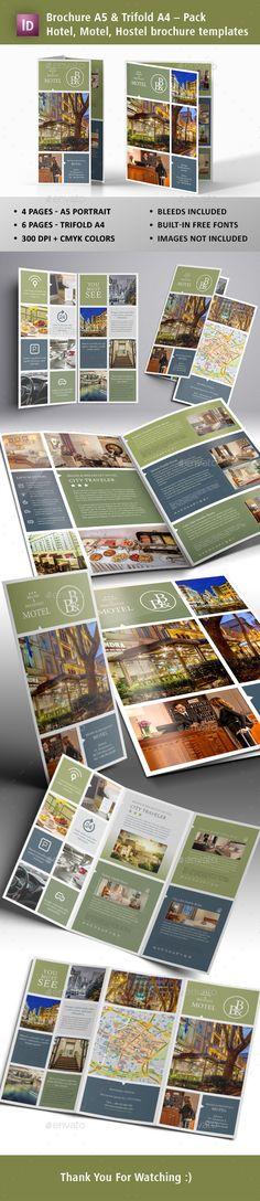 Motel, Hostel, Hotel Brochures Templates InDesign INDD
