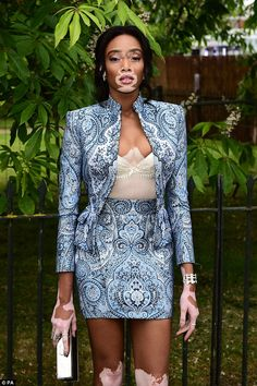 Gorgeous: She's made a name for herself as a model across the globe and it was easy to see why as Winnie Harlow arrived at the Serpentine Summer Party at London's Kensington Gardens on Wednesday night