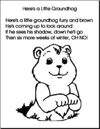 Cute art idea for Groundhog Day..printable template and song. Also ...