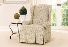 Sure Fit Slipcovers Fanciful Floral by Waverly™ Wing Chair Slipcover - Wing Chairs
