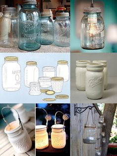 Bottom left pic, hanging from a bracket outside, what an ingenious idea! Mason jars