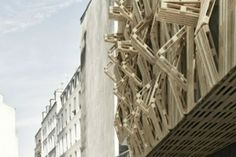 Designed by French architect Stephane Malka, 'Ame-lot' is a proposal to create a sleek facade for a student residence in Paris using shipping pallets Beautiful Architecture, Architecture Details, Interior Architecture, Parametric Architecture, Architecture Panel, Wood Pallet Art, Wooden Pallets, Pallet Lounger, Details Magazine