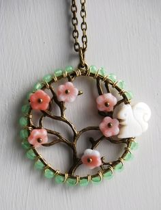 Squirrel in a cherry tree necklace by yotldesigns on Etsy, $55.00