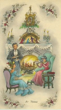 """Just a little chat by the fireplace"", Merry Christmas! Old World Christmas, Old Fashioned Christmas, Christmas Past, Victorian Christmas, Christmas Fireplace, Christmas Stuff, Vintage Christmas Images, Retro Christmas, Vintage Holiday"