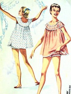 CUTE Shortie Nightgown, Bloomers, Baby Doll Pajamas Pattern McCALLS 3502 Sweet Lingerie Sleepwear Style Bust 36 Vintage Sewing Pattern- Authentic vintage sewing patterns: This is a fabulous original dress making pattern, not a copy. Baby Doll Pajamas, Cute Pajamas, Baby Dolls, Pyjamas, Satin Pyjama Set, Pajama Set, Vintage Sewing Patterns, Clothing Patterns, Mccalls Patterns