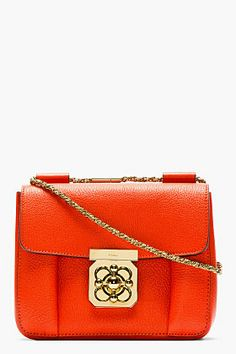 CHLOE Red grained leather small Elsie bag