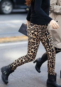 leopard print pants legging black leather biker boots style