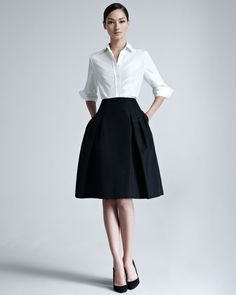 Carolina Herrera Silk Taffeta Shirt & Faille Party Skirt - Neiman Marcus