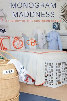 When did monograms get so popular? The trend may go back further than you think! Image: South of Hampton #bedding #clothing #trend #history #fashion #monogram #names #robe #styleblueprint