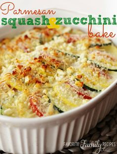 Use up all your garden squash and zucchini with this easy summer side. Carefully layer this Parmesan Squash and Zucchini Bake for nice events or just toss it all together for a quick family meal.