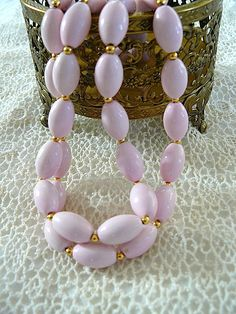 SALE  vintage faux pink beads single strand choker by sassycotton