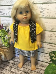 18 Girl Doll Clothes Black White yellow Doll by sassydollcreations
