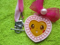 Kawaii Pikachu necklace, heart necklace, handmade necklace, painting in necklace, pokemon necklace, bow necklace, necklace, charm by CutieInspirations on Etsy