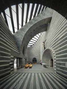 /\ /\ . Chiesa di San Giovanni Battista, church by Mario Botta in Mogno, Ticino, Switzerland, finished 1997