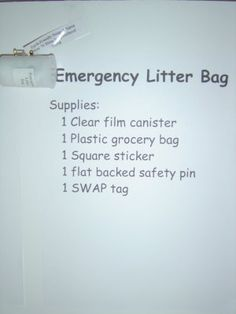 Emergency Litter Bag swap -   Yup, I made that!: Girl Scout Swap A Rama