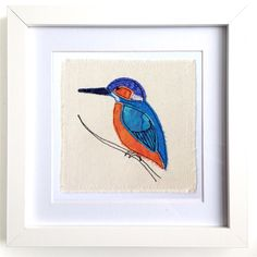 Kingfisher framed wall art picture gift, personalised stitched fabric applique embroidery. Wildlife bird nature birthday textile art
