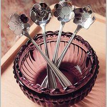 1 Pc Venda Quente Mesa Linda Flor Forma Açúcar Sorvete de Chá de Café Colheres De Chá de Aço Inoxidável Ferramenta Da Cozinha(China)