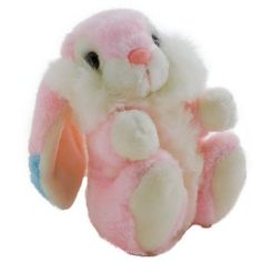 Vintage Chrisha Pink Bunny Rabbit with Tush Tag Lop Eared 1988    This bunny stands 8 inches tall the ear tips are trimmed with blue and have white inner ear. white tummy, feet, hands and lower face. Eyes are brown. the soft nose is pink.  I look new.    The tush tag identifies it as 1988.    Comes from a smoke free home. Made for chldren over 3 years old.