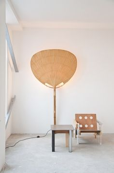 Light Uchiwa by Ingo Maurer Private collection of Architect Vasa J. Perovic, photograhy by Peter Giodani Wall lamp or Table Lamp made of bamboo, rice … Cool Lighting, Lighting Design, Lighting Stores, My Furniture, Furniture Design, Ingo Maurer, Fan Lamp, Beautiful Space, Interior Lighting