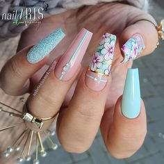 Blue Coffin Nails With Flowers ❤ Magnificent Coffin Nails Designs You Must Try ❤ See more ideas Bling Acrylic Nails, Coffin Nails Ombre, Best Acrylic Nails, Summer Acrylic Nails, Bling Nails, Acrylic Nail Designs, Nail Art Designs, Pastel Nails, Flower Nail Designs