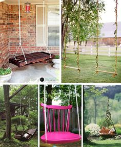 diy wooden porch swing for home depot Outdoor Swing Sets, Backyard Swing Sets, Diy Swing, Swing Beds, Outdoor Swings, Porch Swings, Rustic Garden Decor, Rustic Gardens, Outdoor Gardens