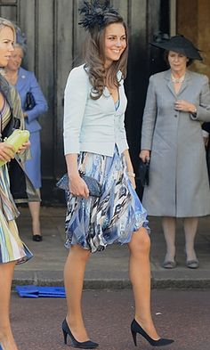20.07.2008 Kate looked stunning in a blue fitted jacket and floral-print dress at the wedding of Lady Rose Windsor and George Gilman.