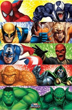 Marvel Heroes Heroes vs Villains Maxi Poster x 91 new sealed Poster Marvel, Dc Comics Vs Marvel, Marvel Comic Universe, Comics Universe, Marvel Art, Marvel Heroes, Marvel Avengers, Spiderman Poster, Comic Book Villains