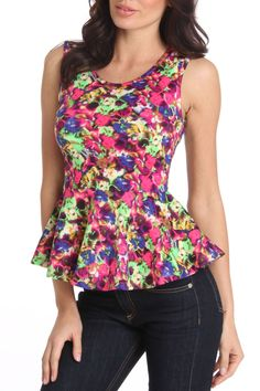 Coolwear Obelia Peplum Top in Floral Coral - Beyond the Rack
