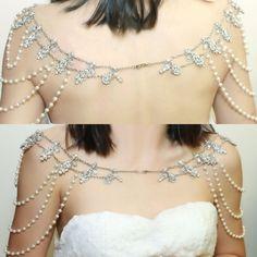 Bridal Wedding Jewelry Rhinestone Crystals Shoulder Necklace ----BOTH SIDES
