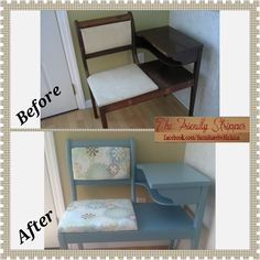 Refinished vintage gossip bench painted in Tranquil Aqua from Sherwin Williams and reupholstered. #TheFriendlyStripper: www.facebook.com/furniturebymelissa