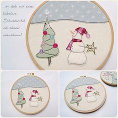 Schneemann Applikation, christmas, snowman appliqué