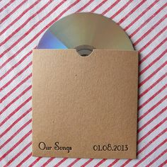 Letterpress printed eco-friendly Kraft card personalised 'wedding favours' CD sleeve perfect for a retro themed wedding. £0.80