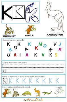 """Page de lecture - écriture : du """" K """" de l'alphabet"""