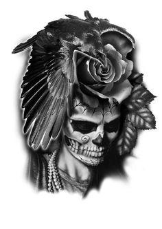 PapiRouge - Tattoo Zeichnungen La Muerte Tattoo, Catrina Tattoo, Skull Tattoos, Life Tattoos, Sleeve Tattoos, Clock Tattoo Design, Tattoo Designs, Tattoo Studio, Model Tattoo