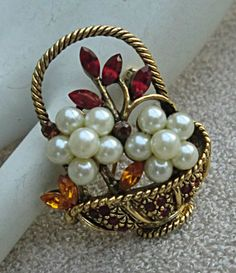 Vintage Flower Basket Pin Faux Pearls Red Amber Rhinestones Brooch in Jewelry & Watches, Vintage & Antique Jewelry, Costume, Retro, Vintage 1930s-1980s, Pins, Brooches | eBay