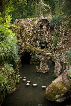 Note from TeamMona: Quinta da Regaleira, Garden grotto with waterfall in Sintra, Portugal. Right out of an old fairy tale! East Of The Sun, Sintra Portugal, Fantasy Landscape, Garden Gates, Wonders Of The World, Paths, Nature, Places To Go, Exotic