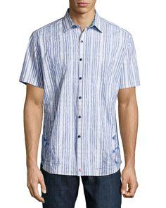 Koloa Embroidered Short-Sleeve Shirt, Blue, Size: XX-LARGE - Robert Graham