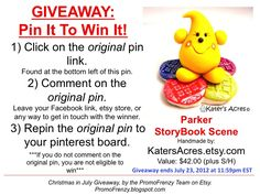 GIVEAWAY - Pin It To Win It: To Win This Item from KatersAcres.etsy.com - follow the instructions: Click on ORIGINAL pin, comment leaving a way to contact you, REPIN the ORIGINAL Pin! Contest ends 7/24/12 @ 11:59pm EST. Winner announced 7/25/12. #promofrenzy #contest #giveaway