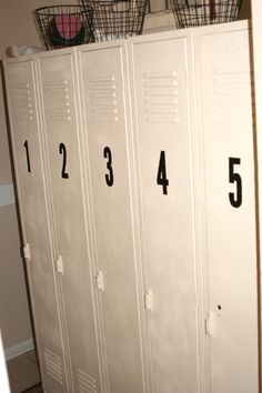 Old lockers, revamped, now store our sport equipment and puppy supplies! vintage, industrial, storage, interior design, re-purpose, re-use, garage, living room, landing place, kids, families, home decor & decoration, green design sustainability