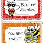 Free! 4 different bee themed valentines day cards and one valentines day craftivity.