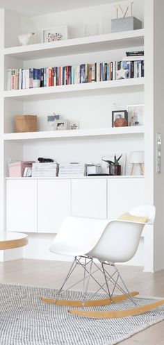7 Aligned Clever Ideas: Small Floating Shelves Tvs floating shelf above bed diy.Floating Shelves Kitchen White floating shelves bedroom how to make. Living Room White, White Rooms, Home Living Room, Tiny Living, Floating Shelves Bedroom, White Floating Shelves, White Shelves, Floating Cabinets, White Bookshelves