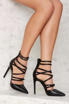 Nasty Gal Cecily Vegan Leather Heel - Black - What's New