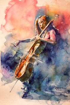 """Painting, """"Cello of her"""" - Art Painting Arte Cello, Cello Art, Music Painting, Figure Painting, Watercolor Portraits, Watercolor Paintings, Art Paintings, Watercolours, Realistic Drawings"""