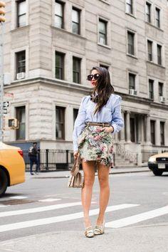 Floral Mix :: Spring ruffles & Oxford shirt