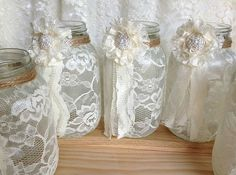 5 ivory lace covered ball mason jar vases wedding by PinKyJubb