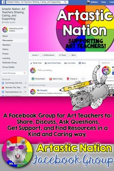 Join this supportive Art Teachers Facebook Group to receive freebies, webinars for art teachers, get ideas, and receive support from other like-minded art teachers! #msartastic #artteachers #artteacher #artteacherlesson #artteacherideas #artteaching #artprojectsforkids #artlessonsforkids #artideasforkids #artteachertutorials #artteacherideas #artsubplan #artsublesson #artforkids #arteducation #backtoschoolart #backtoschoolartproject #backtoschool #meettheteacher Art Education Lessons, Art Lessons For Kids, Projects For Kids, Art For Kids, Back To School Art, Middle School Art Projects, Art School, Upper Elementary, Elementary Art